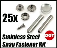 25x DOT 316 A4 Stainless Steel Stud Boat Canvas to Deck Fastener Kit With Tools